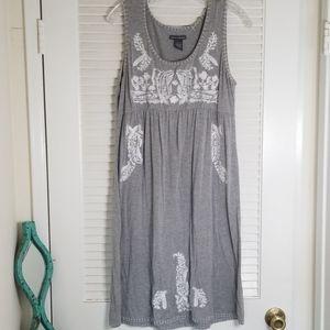 Grey with White Stitching Summer Dress